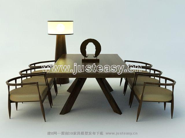 现代中式餐桌椅3d模型下载 中式经典 桌椅 家具 组合 酒