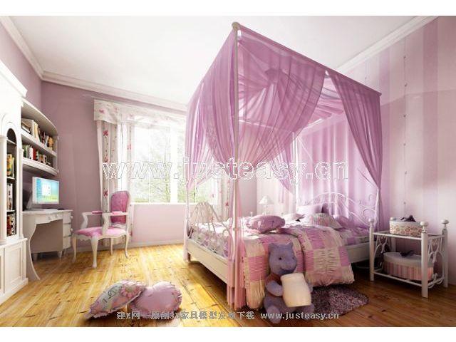 欧式儿童卧室3d模型下载[id:41067]