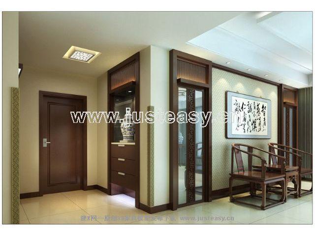 新中式客厅餐厅过道【模型id:41211】; 新中式室内景墙; 过道端景设计图片
