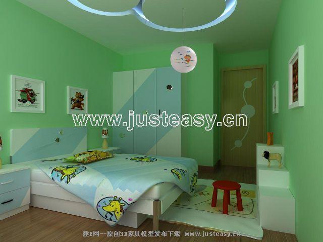 淡绿色卧室效果图; 现代儿童卧室