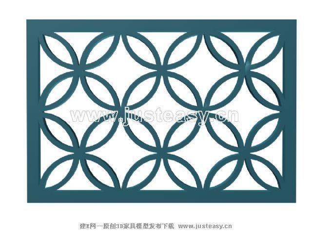 中式花格3d模型下载[id:32084]