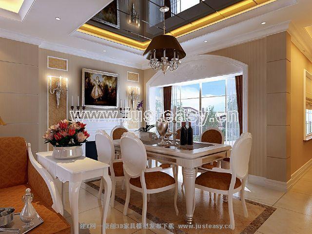 欧式别墅客厅餐厅过道3d模型下载[id:36460]