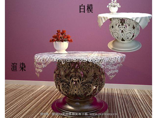 欧式雕花桌子端景台3d模型下载[id:37478]