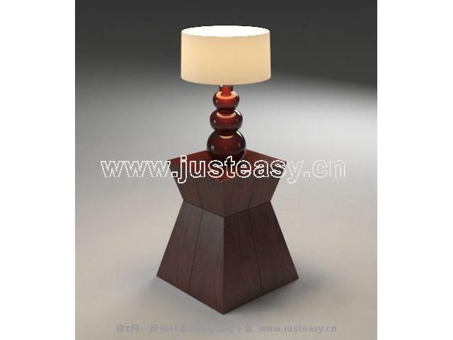 东南亚风格边几与台灯3d模型下载 其它风格 台灯 灯具 照