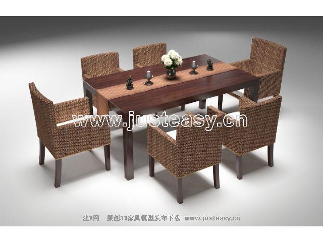 东南亚风格 餐桌椅3d模型下载 建e模