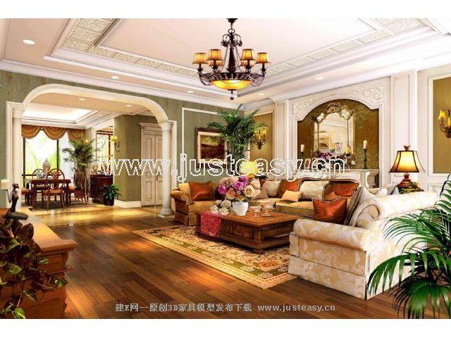 欧式别墅客厅餐厅楼梯3d模型下载[id:36943]