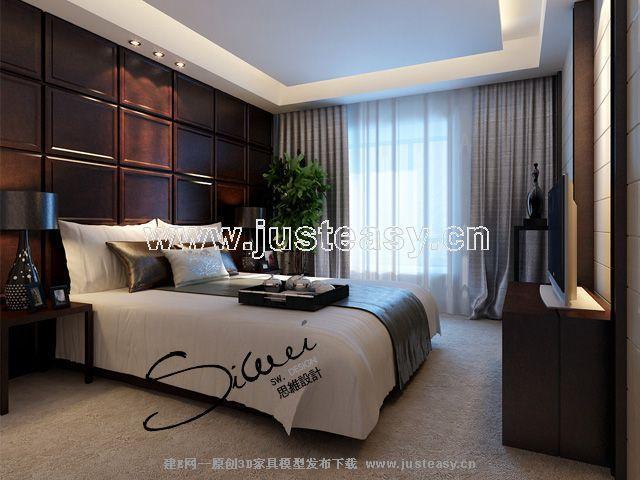 詞:臥室,中式,現代,家居住宅,室內,場景,中式經典,效果圖,模型下載,建