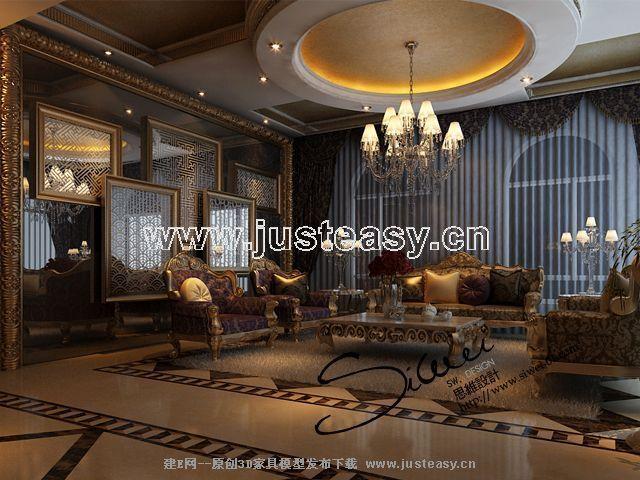 欧式古典别墅客厅餐厅3d模型下载[id:55039]