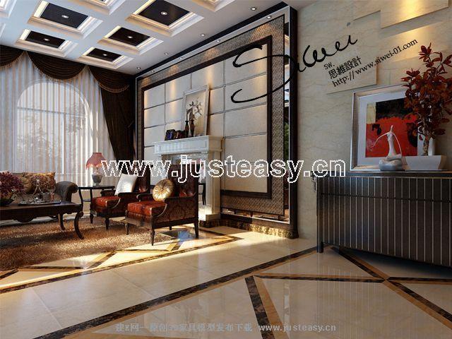 简欧别墅客厅餐厅3d模型下载[id:55041]