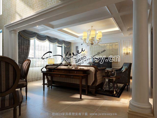 美式欧式别墅客厅餐厅楼梯[模型id:55055]