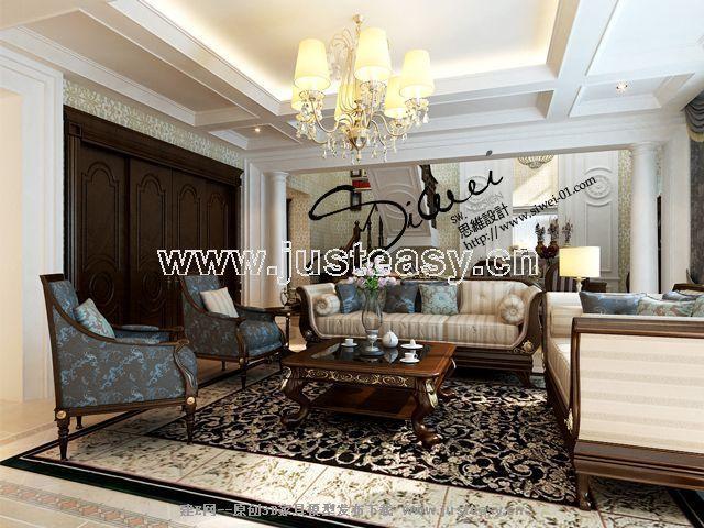 美式欧式别墅客厅餐厅楼梯3d模型下载[id:55055]