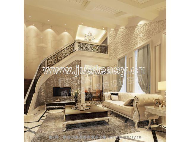 欧式新古典别墅客厅楼梯[模型id:56094]