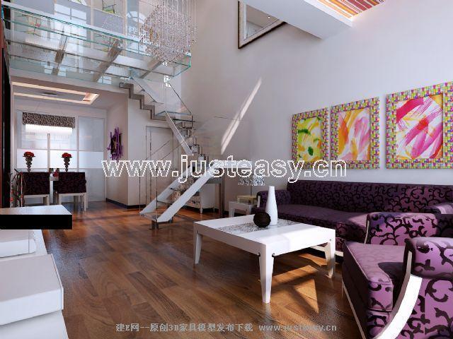 现代复式客厅餐厅楼梯【模型id:56154】图片