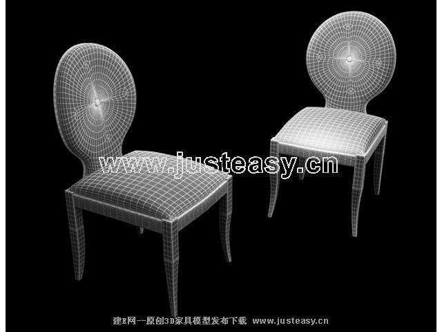 沙皇后现代简欧式大公馆餐椅-现代椅子3d模型下载[id