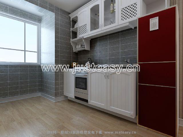 欧式田园客厅餐厅厨房3d模型下载[id:44987]