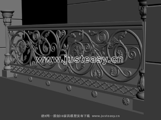 欧式雕花铁艺栏杆3d模型下载[id:46427]