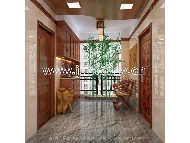 中式花园走廊[模型id:46592]