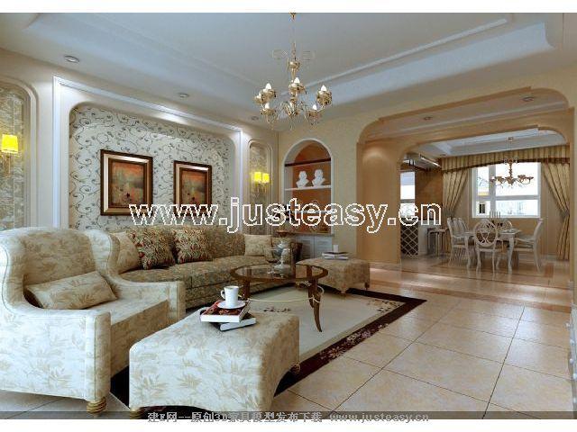 白色欧式风格; 欧式客厅餐厅卧室厨房过道