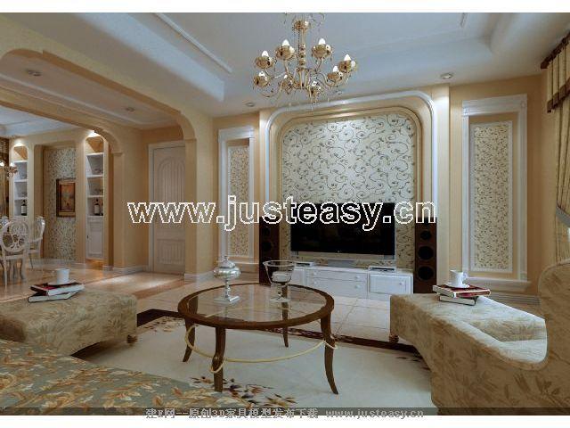 欧式客厅餐厅卧室厨房过道3d模型下载[id:46804]