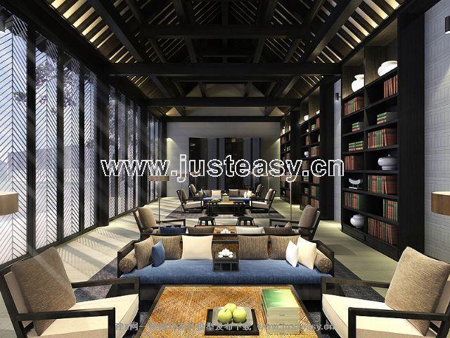 中式图书馆[模型id:47090]