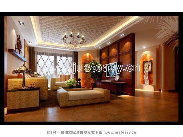 东南亚客厅 餐厅3d模型下载 建e模型