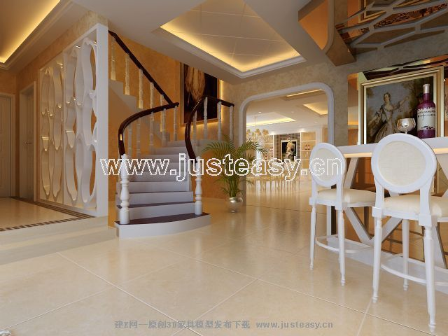 现代欧式餐厅吧台楼梯3d模型下载[id:47646]