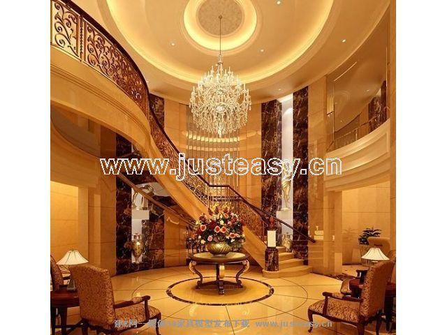 欧式豪华别墅过厅楼梯3d模型下载[id:47680]