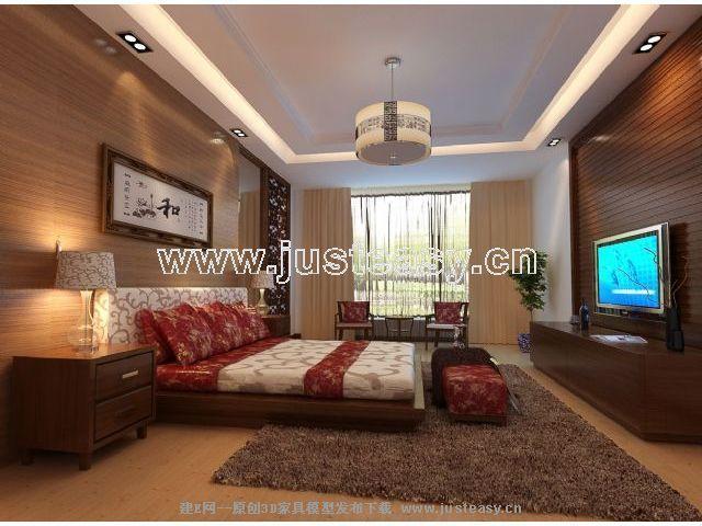 鍵 詞:臥室,中式,家居住宅,室內,場景,中式經典,效果圖,模型下載,建e