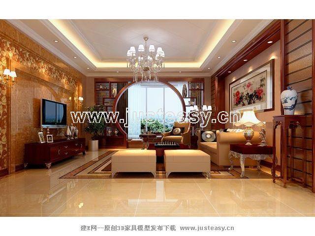 中式欧式混搭客厅3d模型下载[id:50071]