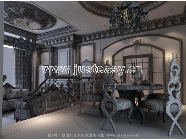 欧式豪华别墅客厅餐厅3d模型下载[id:50495]
