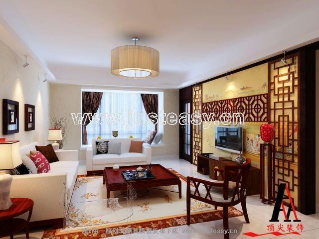 现代中式客厅3d模型下载 室内设计装修资