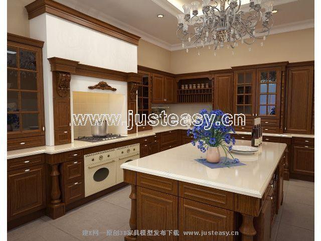 厨房实木岛台设计图