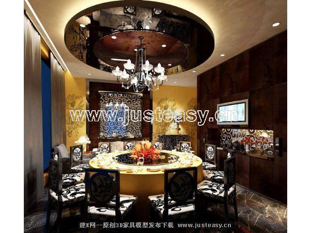 欧式餐厅,包房3d模型下载[id:52083]图片