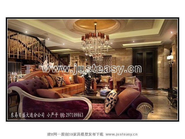 欧式豪华别墅客厅餐厅过道3d模型下载[id:52165]