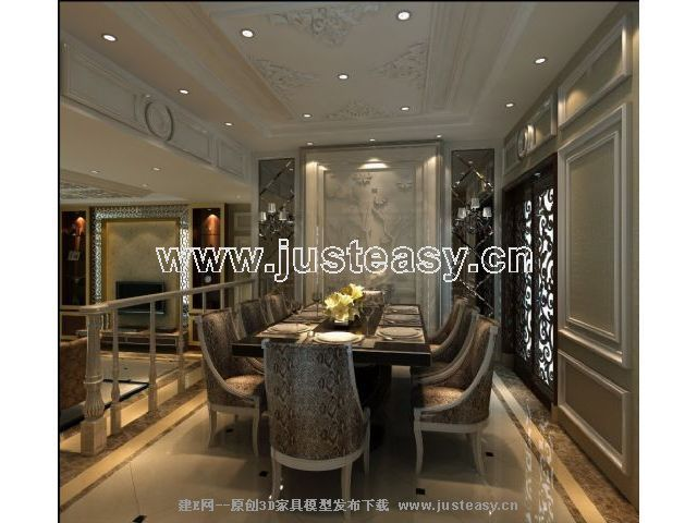 建e网 模型首页 室内/场景 家居住宅 欧式客厅餐厅【模型id:64014】