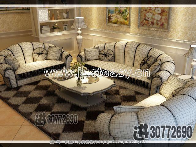 新古典欧式简欧后现代多人沙发茶几组合3d模型下载