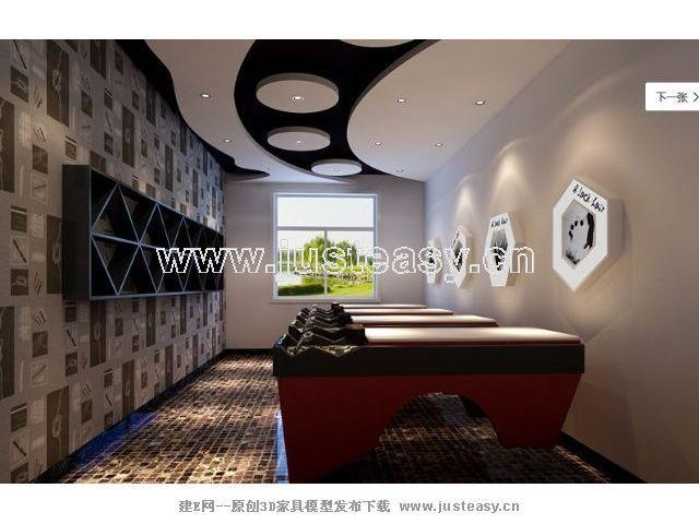 美发店装修三室一厅一卫装修案例效果图 70平米设计