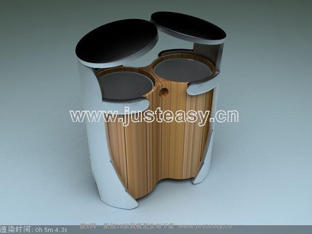 垃圾桶3d模型下载[id:64442]