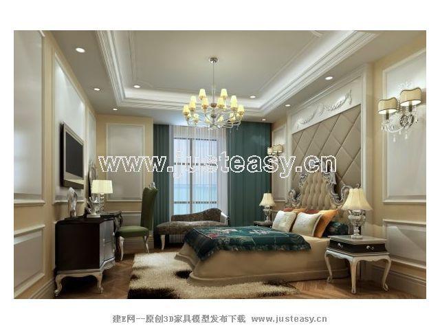 欧式新古典客厅餐厅卧室卫生间玄关3d模型下载[id:]