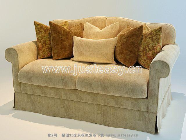 欧式美式双人绒布沙发3d模型下载[id:64973]