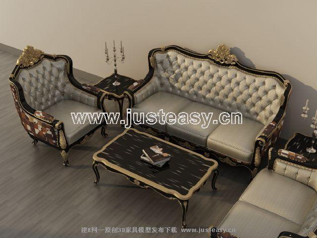 新古典多人单人沙发茶几组合3d模型下载[id:66060]