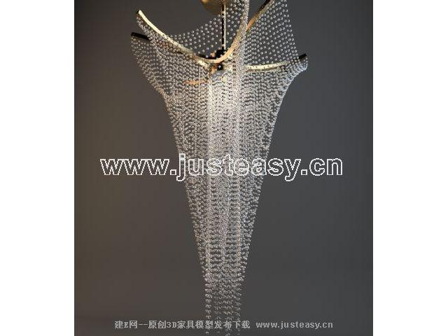 现代水晶吊灯3d模型下载[id:66161]