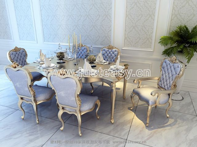 宫廷一号欧式新古典餐桌餐椅组合3d模型下载[id:6641