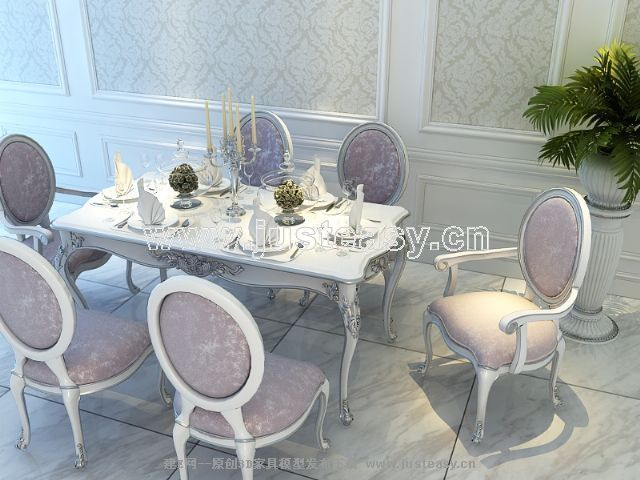宫廷一号欧式新古典餐桌餐椅组合[模型id:66439]