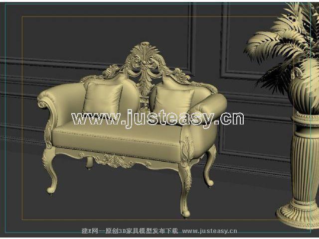 宫廷一号欧式新古典双人单人沙发3d模型下载[id