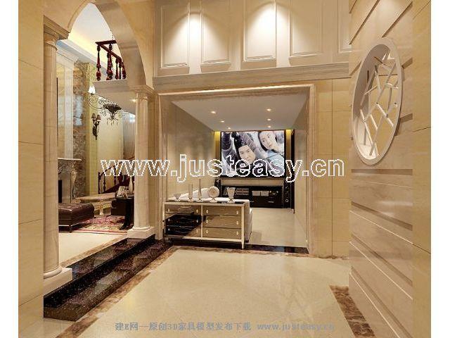 欧式别墅地下室客厅楼梯3d模型下载[id:56867]