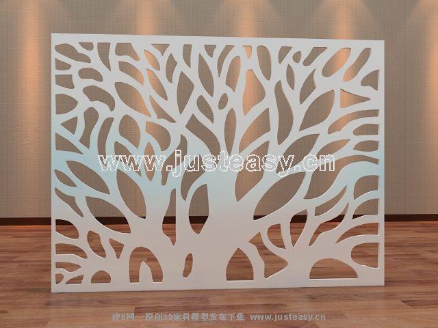 树形现代雕花隔断3d模型下载[id:56906]