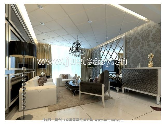 现代新古典客厅餐厅厨房过道3d模型下载[id:57309]