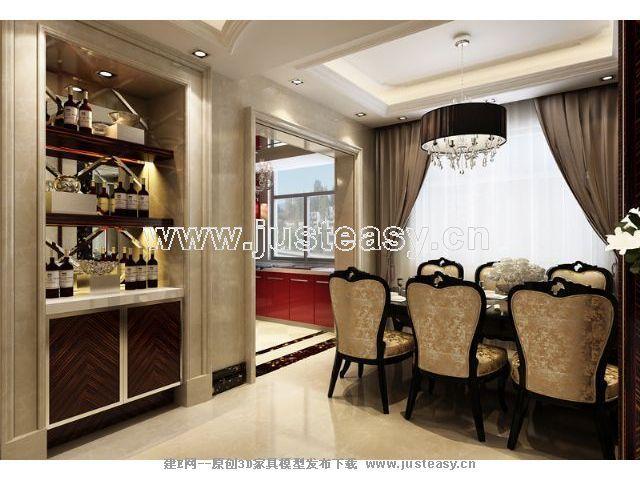 欧式别墅客厅餐厅3d模型下载[id:57369]_建e模型网_建
