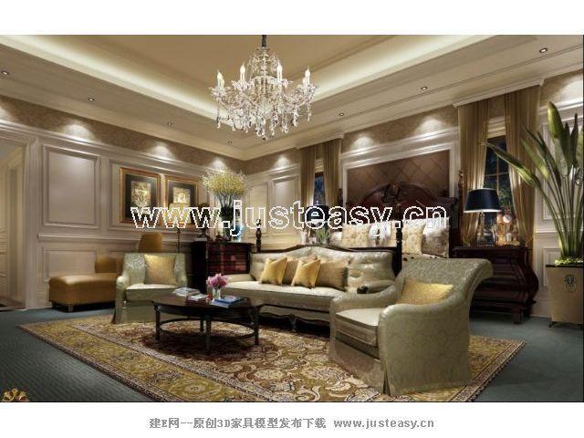 欧式卧室客厅3d模型下载[id:57380]